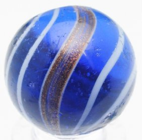 Blue Glass Banded Lutz Marble.