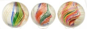 Lot Of 3: Divided Core Swirl Marbles.