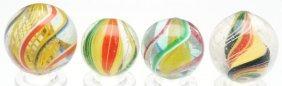 Lot Of 4: Handmade Swirl Marbles.