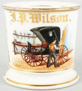 Carriage Wheel Repairman Shaving Mug.
