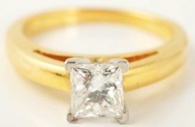 18k Y. Gold Princess Cut Diamond Engagement Ring.
