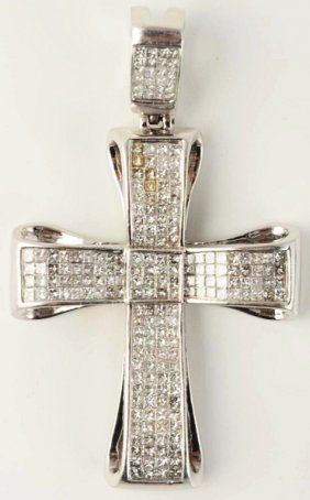 14k White Gold Princess Cut Diamond Cross.