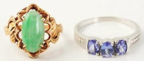 Lot Of 2: Tanzanite & Jade Rings.