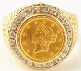 14k Yellow Gold Coin & Diamond Ring.
