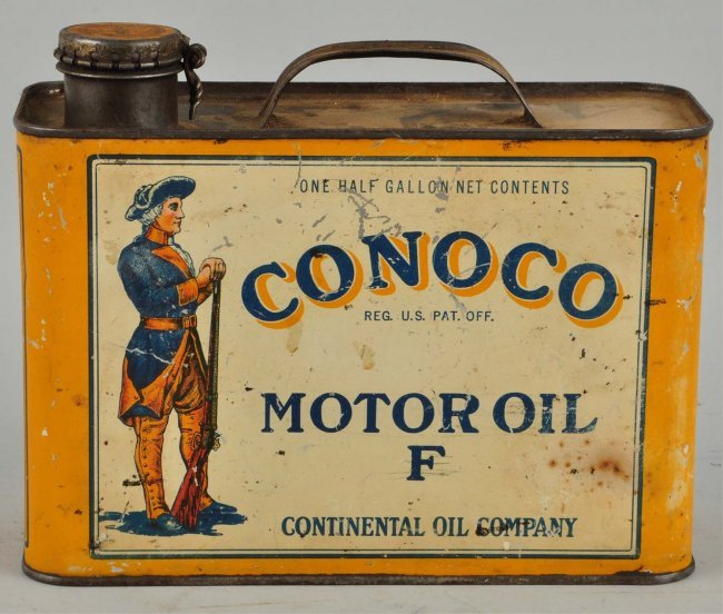 Conoco Motor Oil F With Minuteman Graphics Can Lot 259