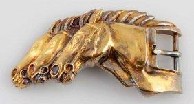 Kieselstein Cord Sterling Horse Belt Buckle.