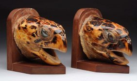 Pair Of Sea Turtle Head Bookends.