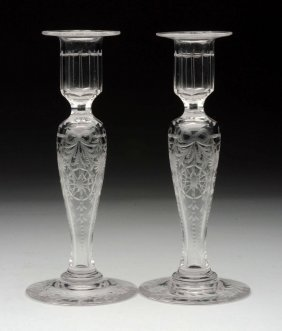 Lot Of 2: Etched Glass Candlesticks.
