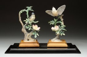 Pair Of Doughy Worcester Porcelain Birds.