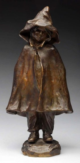 Little Red Riding Hood French Bronze Figure.