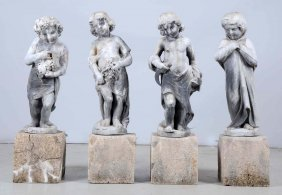 Lot Of 4: Zinc Garden Statues.
