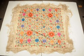 Fine Silk Floral Tapestry With Fringe Border.