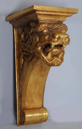 Carved Gilt Wooden Lions Head Wall Bracket.
