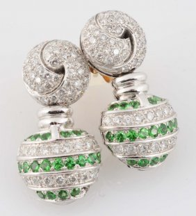 2.25 Ct. Diamond, Tsavorite Garnet 18k Earrings.