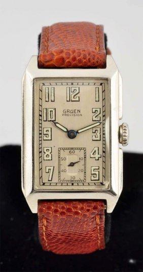 Gruen Precision 14k White Gold Watch.