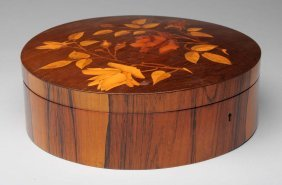 French Art Nuveau Wooden Marquetry Jewel Box.
