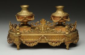 French Empire Gilt Bronze Inkwell.