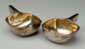 Pair Of Russian Silver Kovsh Cups.