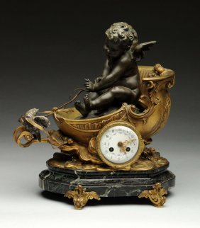 19th Century French Bronze Mantle Clock Of Cupid.
