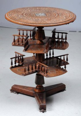 Anglo Indian Inlaid Three - Tiered Table.