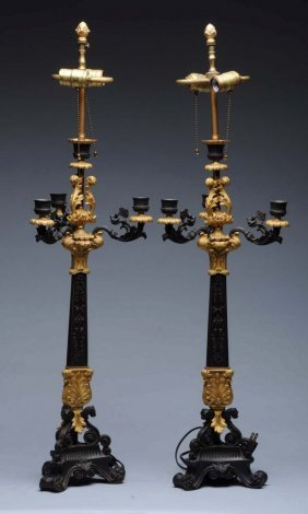 Pair Of French Gilt & Bronze Candelabras.