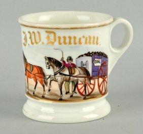 Horse Drawn Coal Cart Shaving Mug.