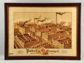 Pabst Brewing Co. Factory Scene Paper Sign.
