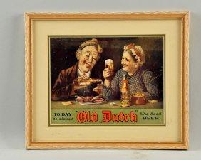 Framed Old Dutch Beer Paper Sign.