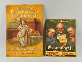 Lot Of 2: German Beer Advertising Signs.