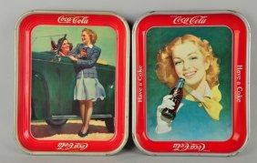 Lot Of 2: 1950 & 1942 Coca-cola Serving Trays.