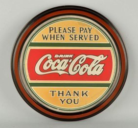 Coca-cola Reverse Glass Advertising Sign.