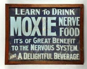 Early And Rare Moxie Tin Sign.