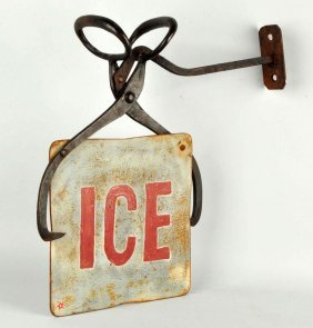 Cast Iron Figural Ice Trade Sign.