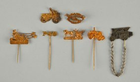 Lot Of 7: Plow And Implement Stick Pins.