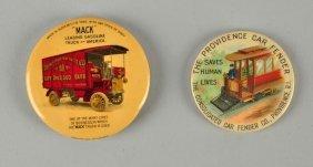Lot Of 2: Providence & Mack Truck Pocket Mirrors.