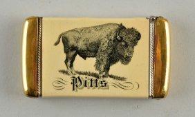 Buffalo Pitts Machinery Celluloid Match Safe.
