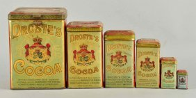 Lot Of 6: Droste's Cocoa Tins.