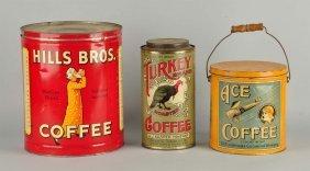 Turkey Brand, Ace Coffee, & Hills Bros. Tins.