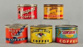 Lot Of 5: Early Coffee Tins.