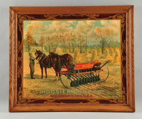 Hoosier Drill Co. Celluloid Advertising Sign.