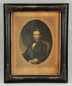 Early Abraham Lincoln Engraved Cardboard Sign.