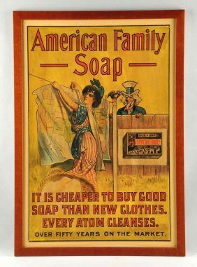 American Family Soap Uncle Sam Advertising Sign.