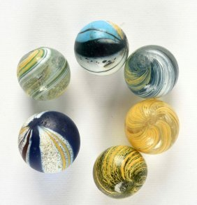 Lot Of 6: Banded Transparent Swirl Marbles.