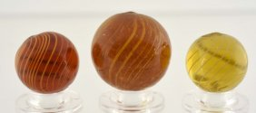 Lot Of 3: Gooseberry Swirl Marbles.