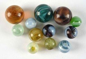Lot Of 12: Handmade Marbles.