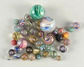 Lot Of 40: Handmade Marbles.