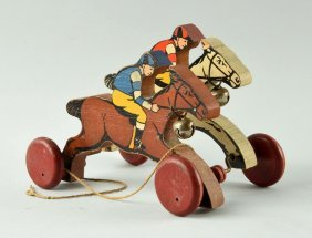 Fisher Price Paper On Wood No. 760 Racing Pony.