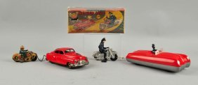 Lot Of 2: Speeding Car & Motorcycle Police Toys.