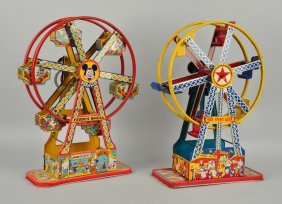 Lot Of 2: Chein Tin Litho Wind Up Ferris Wheels.