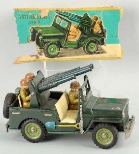 Japanese Tin Litho Friction Jeep Toy.